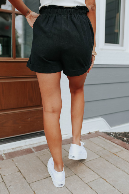 Smocked Waist Black Linen Shorts