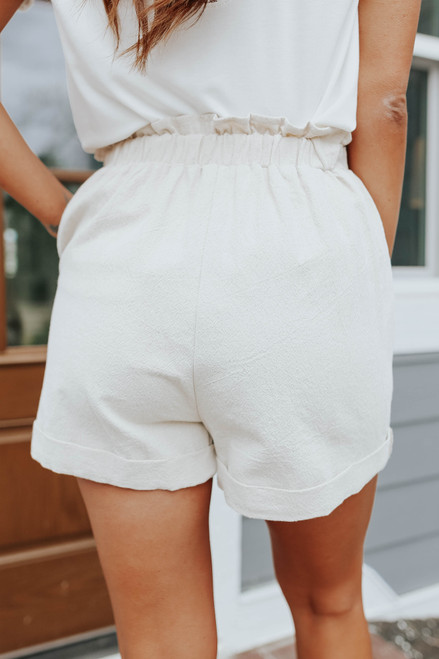 Smocked Waist Oatmeal Linen Shorts