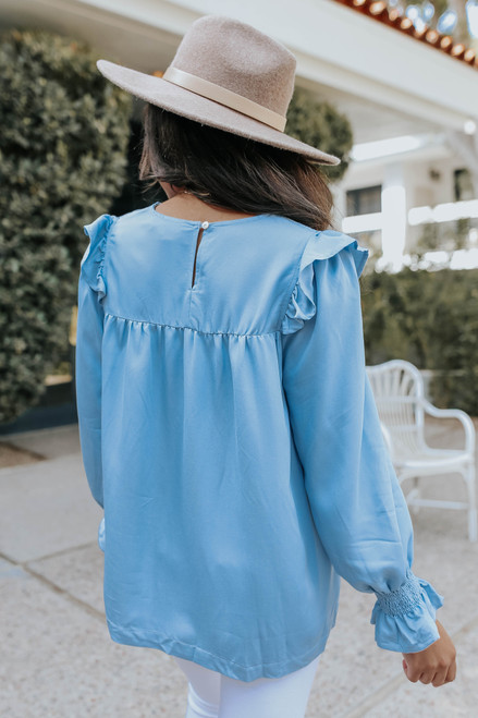 Ruffle Detail Smocked Chambray Blouse