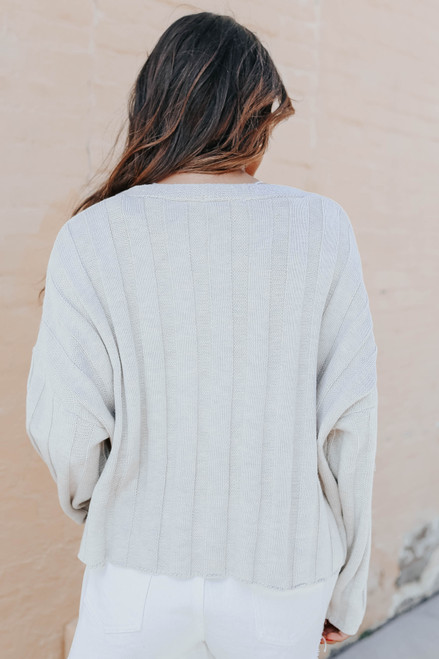 V-Neck Textured Ribbed Sweater
