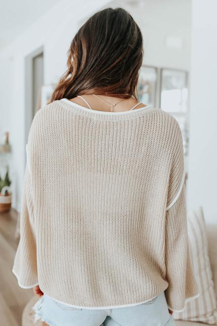 Latte Run Contrast Trim Sweater
