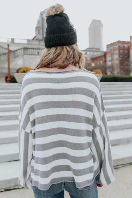 Boatneck Seam Detail Striped Sweater - FINAL SALE