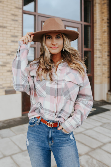 Tailgate Pink Plaid Flannel Shirt