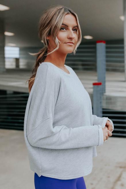 Open Twist Back Terry Sweatshirt