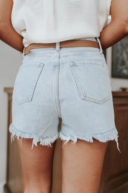 High Road Light Wash Frayed Denim Shorts