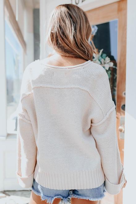 Maren Seam Detail Henley Sweater