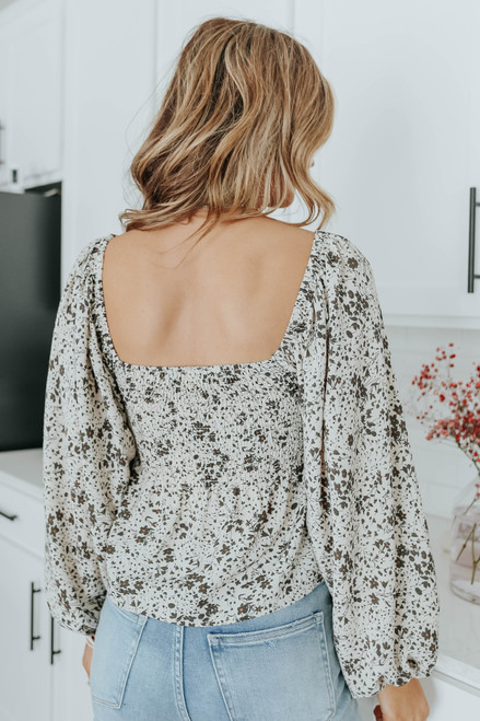 Florence Square Neck Smocked Floral Top