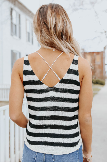 V-Neck Open Knit Striped Tank
