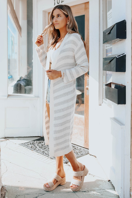 Tranquilly Striped Ribbed Cardigan