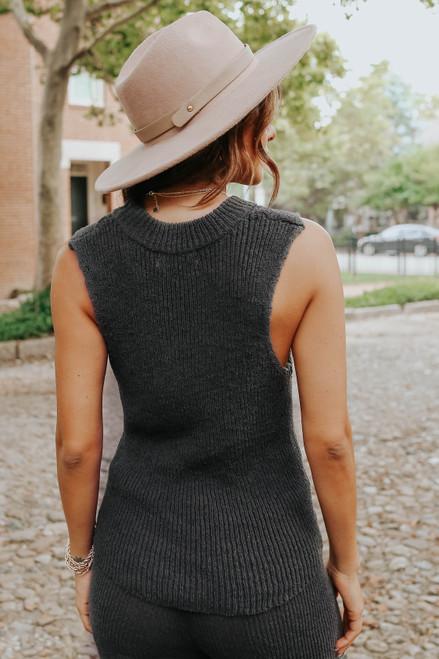 Mock Neck Sleeveless Charcoal Sweater Top