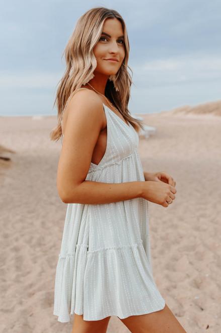 V-Neck Open Back Sage Printed Dress
