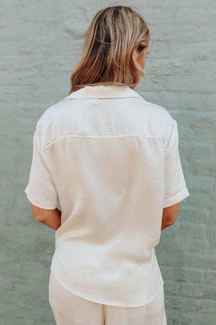 Short Sleeve Button Down Satin Shirt