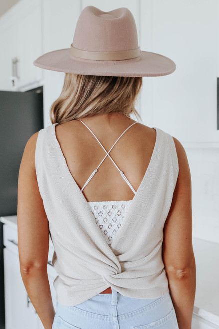 Open Back Latte Sweater Tank