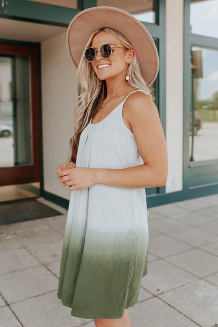 Scoop Neck Grey/Green Ombre Dress