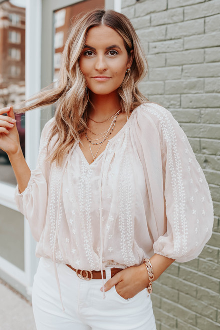 Italian Romance V-Neck Natural Embroidered Top