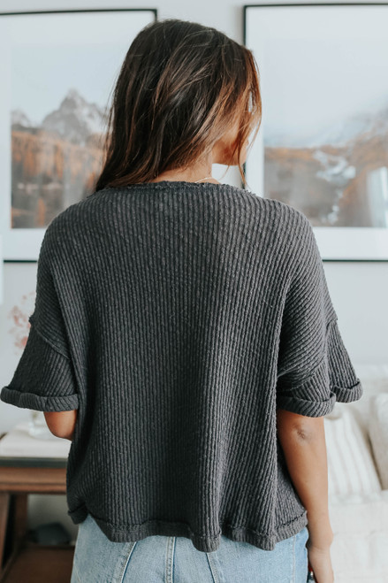 Cuffed Sleeve Textured Ribbed Top