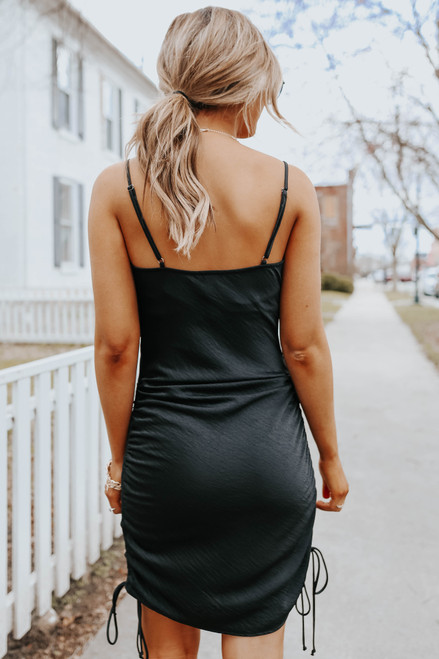 Total Stunner Ruched Satin Dress