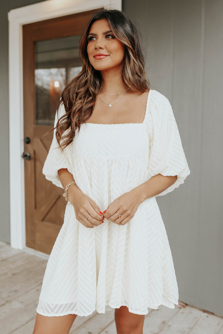 Puff Sleeve Jacquard Babydoll Dress