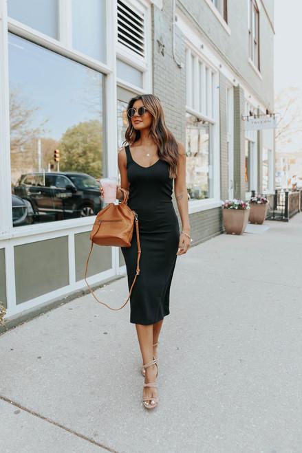 BB Dakota Knit It Off Black Midi Dress