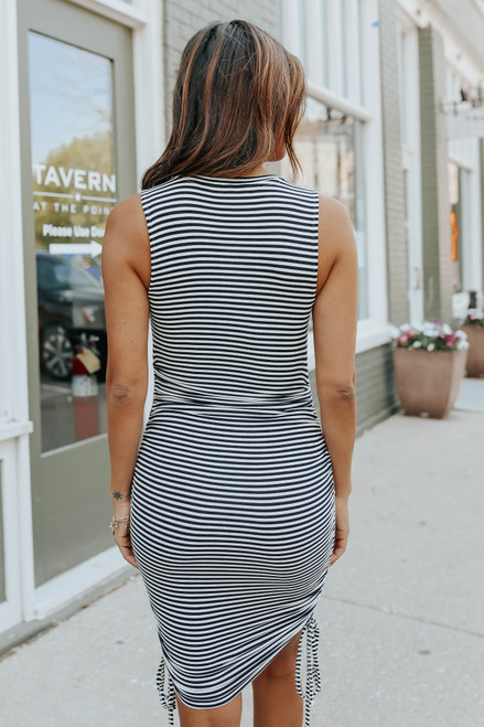 BB Dakota Wait A Minute Navy Stripe Dress