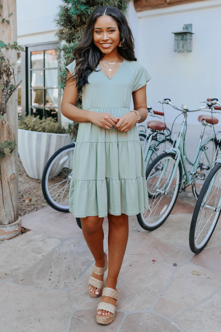 V-Neck Olive Tiered Babydoll Dress