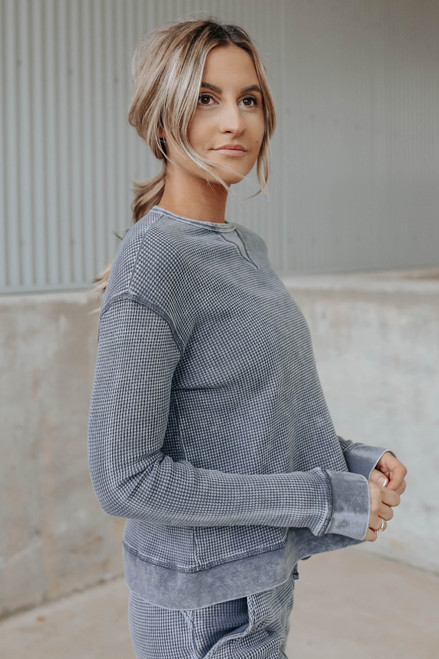 Making Moves Mineral Wash Waffle Pullover