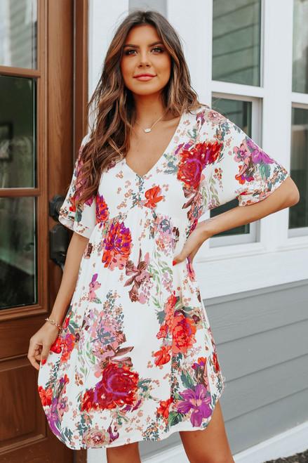 Sorrento Cafe V-Neck Floral Babydoll Dress