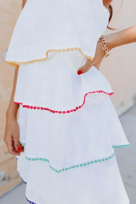 Key West Tiered Rainbow Pom Dress