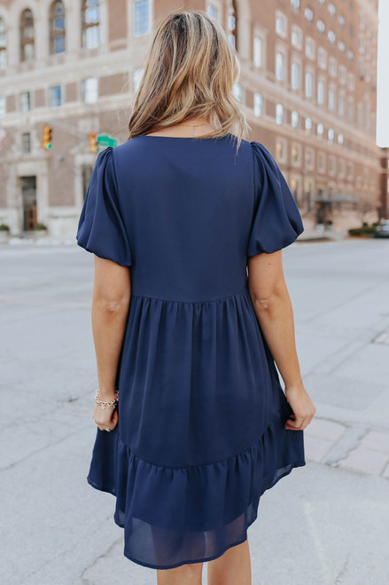 V-Neck Embroidered Ruffle Hem Dress