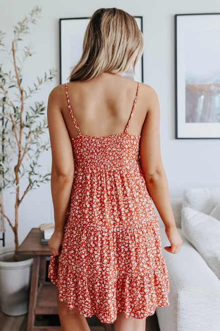 Button Detail Brick Floral Tiered Dress