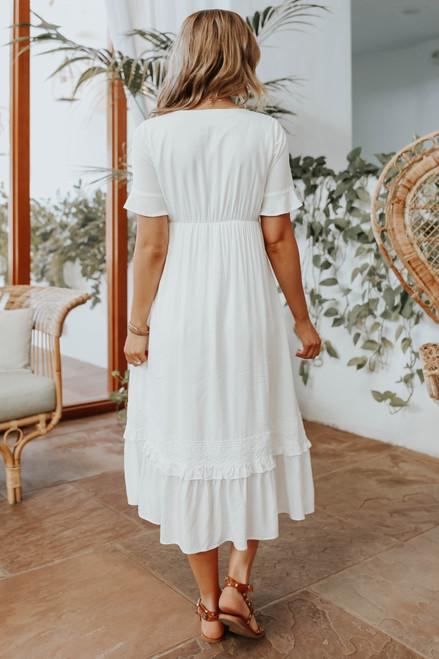 V-Neck Crochet Detail Midi Dress