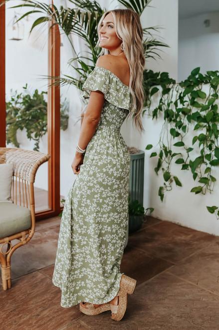 Off the Shoulder Olive Floral Maxi