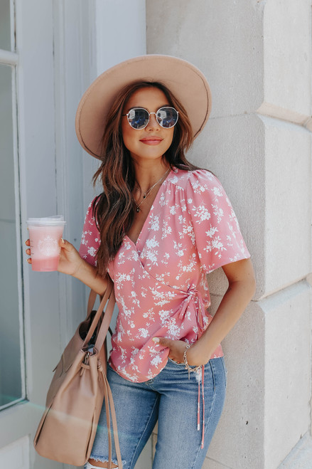 Short Sleeve Coral Pink Floral Wrap Blouse