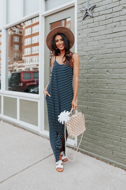 V-Neck Curved Hem Striped Maxi