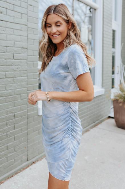 Short Sleeve Tie Dye Tulip Dress