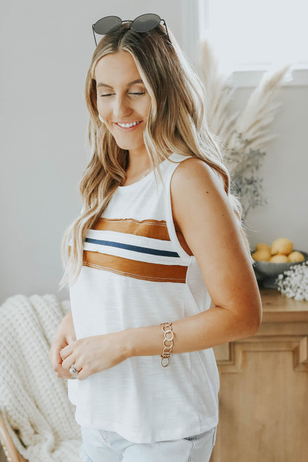 Contrast Striped Ivory Muscle Tank