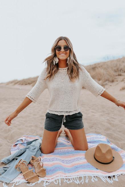 3/4 Sleeve Open Knit Cream Beach Sweater