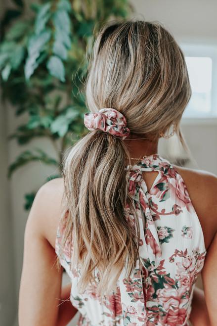 Cream Floral Scrunchie