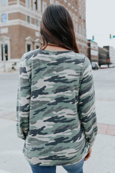Cross Front Camo Waffle Top