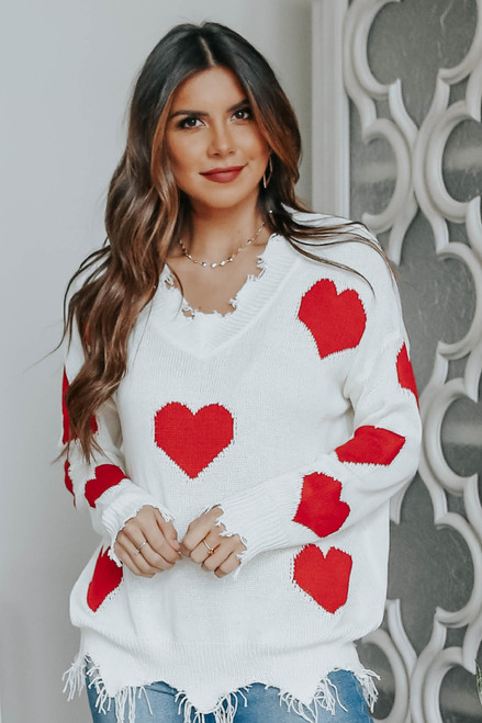 V-Neck Frayed Heart Sweater