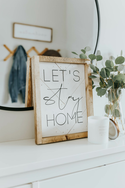 8' X 12' Let's Stay Home Wood Sign