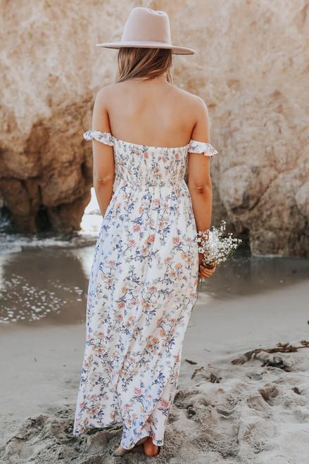 Odella Off the Shoulder White Floral Maxi