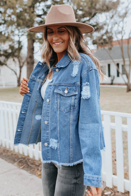 Cool Points Distressed Medium Wash Jacket