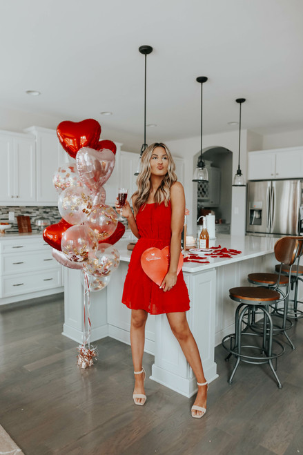 Struck by Love Red Pom Dress