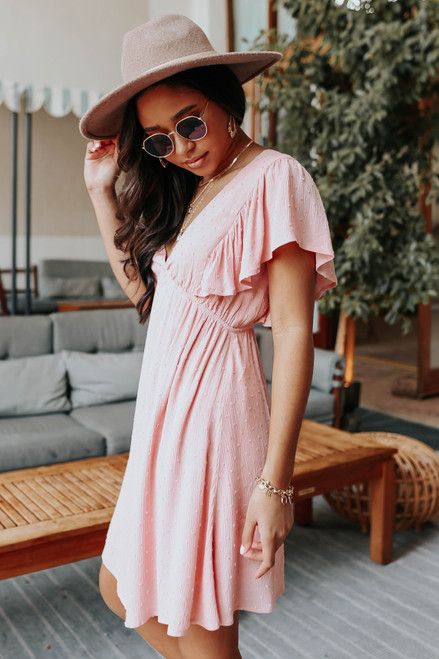 V-Neck Blush Dotted Empire Dress