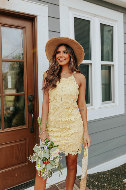 Love Song Crochet Yellow Halter Dress