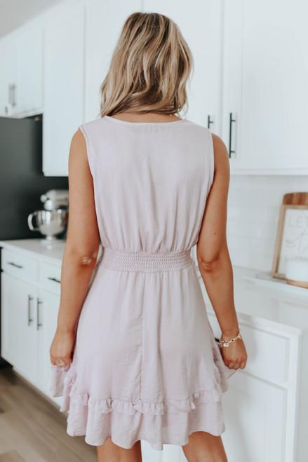 Spotlight Smocked Rose Satin Dress