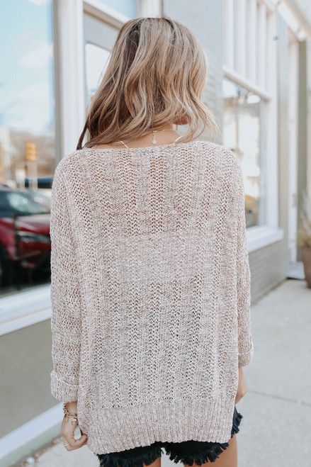 3/4 Sleeve Two Tone Ribbed Sweater