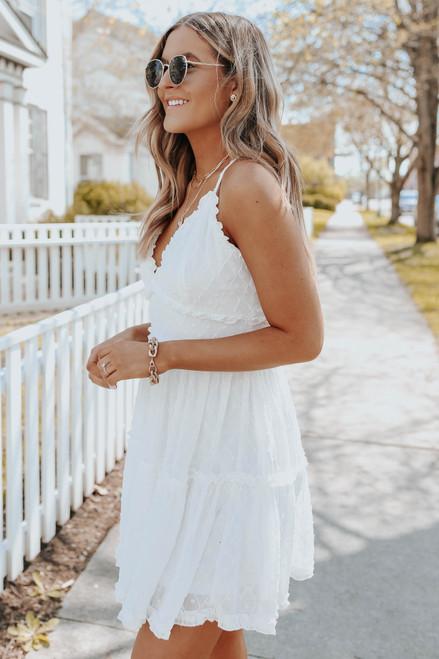 V-Neck Cross Back White Dotted Dress