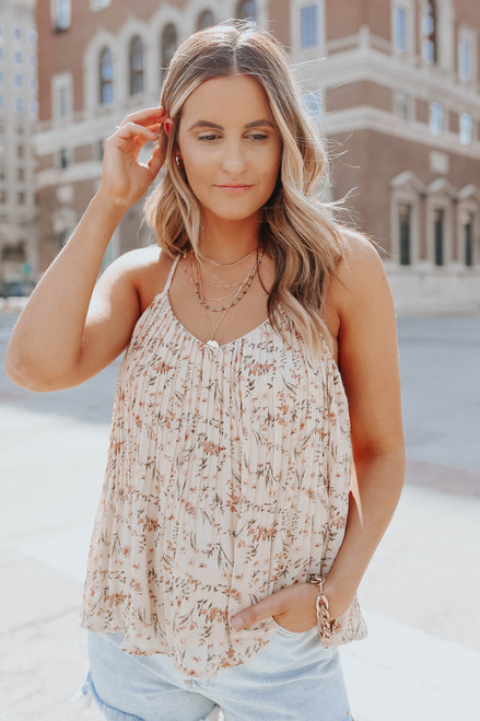 V-Neck Pleated Floral Tank